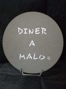 """DESSOUS DE PLAT LIEGE """"DINER A MALO"""" GRIS"""