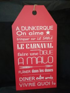 "ETIQUETTE ""A DUNKERQUE, ON AIME…"" ROUGE"