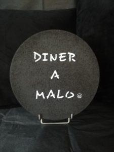 """DESSOUS DE PLAT LIEGE """"DINER A MALO"""" NOIR"""