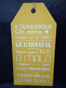 "ETIQUETTE ""A DUNKERQUE, ON AIME…"" JAUNE"