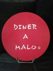 """DESSOUS DE PLAT LIEGE """"DINER A MALO"""" ROUGE"""