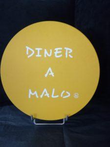 """DESSOUS DE PLAT LIEGE """"DINER A MALO"""" JAUNE"""