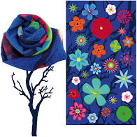 FOULARD BLUE FLOWER PYLONES